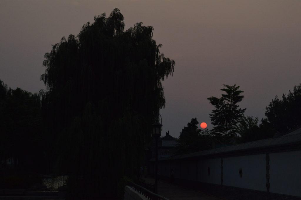 Atardecer rojo en Pekín