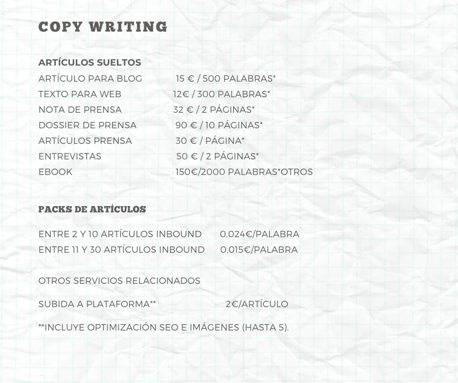 Tarifas Copy Writer Alex Bayorti 2020