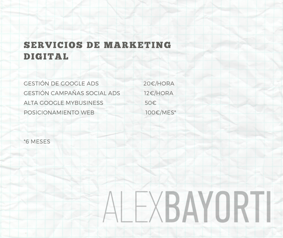 Tarifas Marketing Digital Alex Bayorti 2020